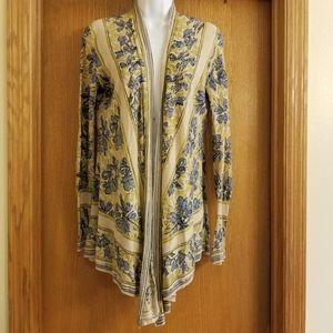 Guinevere Floral Linen Blend Open Cardigan S